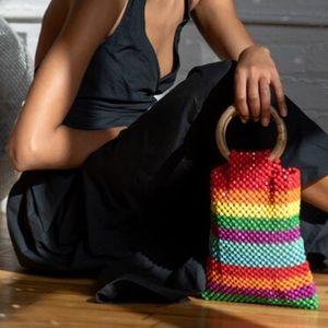 LULU NYC handmade beaded rainbow tote